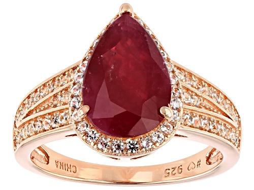 Photo of 4.25ctw Mahaleo(R) Ruby Pear Shape With 0.60ctw Round White Zircon 18K Rose Gold Over Silver Ring - Size 8