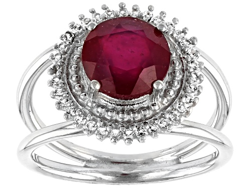 Photo of 1.80ct Round Mahaleo® Ruby With .28ctw Round White Topaz Sterling Silver Ring - Size 8