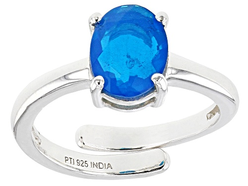 Photo of 0.75ctw Oval Neon Blue Opal Sterling Silver Ring - Size 8