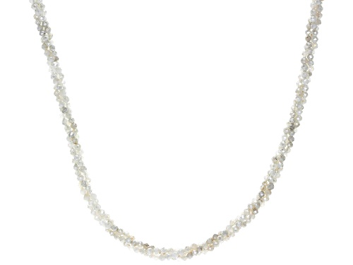 Photo of 45ctw Round Rainbow Moonstone Sterling Silver Beaded Necklace - Size 18
