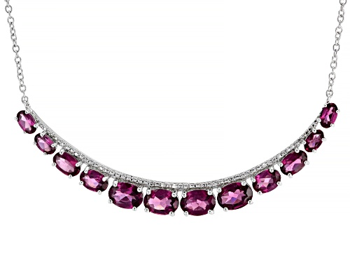 Photo of 7.40ctw Oval Rhodolite Rhodium Over Sterling Silver Necklace - Size 18