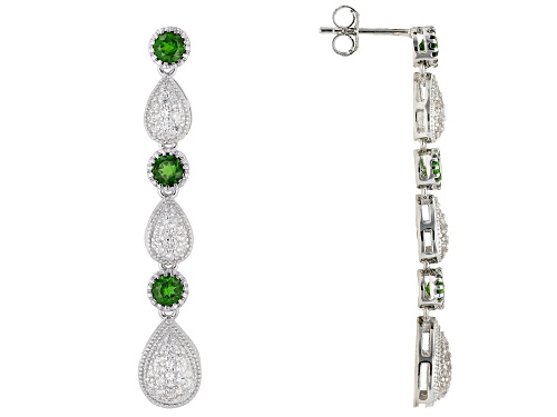 Photo of 1.14cw Round Chrome Diopside with .73ctw Round White Zircon Rhodium Over Silver Dangle Earrings