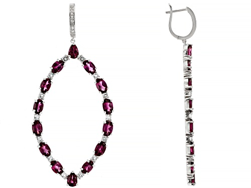 Photo of 15.40ctw Round & Pear Rhodolite With 1.80ctw Round White Topaz Rhodium Over Sterling Silver Earrings