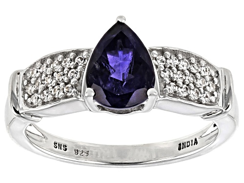 Photo of 1.00ctw Pear Shape Iolite With 0.33ctw Round White Zircon Rhodium Over Sterling Silver Ring - Size 7
