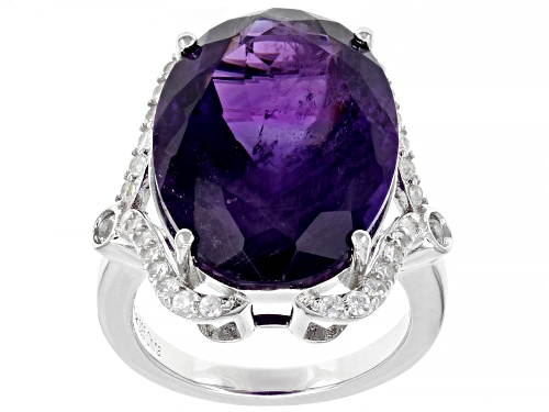 13.50ctw Oval Amethyst With 0.50ctw White Zircon Rhodium Over Sterling Silver Ring - Size 8