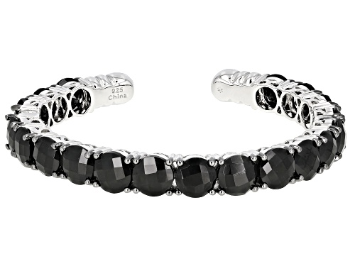 Photo of 38.00ctw Round Black Spinel Rhodium Over Sterling Silver Hinged Cuff Bracelet - Size 7