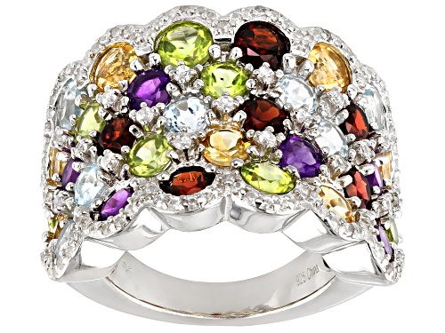 Photo of 6.50ctw Round Multi-Gem With .50ctw Round White Zircon Rhodium Over Silver Cluster Band Ring - Size 7