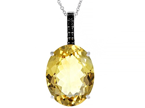 Photo of 20ctw Citrine With 0.15ctw Round Black Spinel Rhodium Over Sterling Silver Pendant With Chain