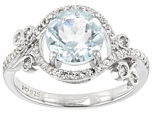 Photo of 1.70ctw Round Aquamarine With .38ctw Round White Zircon Rhodium Over Sterling Silver Ring - Size 9