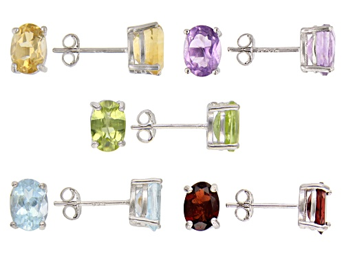 Photo of 9.00ctw Oval Mult-Gemstone Rhodium Over Silver Set of 5 Stud Earrings