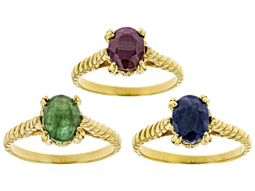 Photo of 4.70CTW OVAL EMERALD, RUBY & BLUE SAPPHIRE 18K GOLD OVER STERLING SILVER SET OF 3 SOLITAIRE RINGS - Size 8