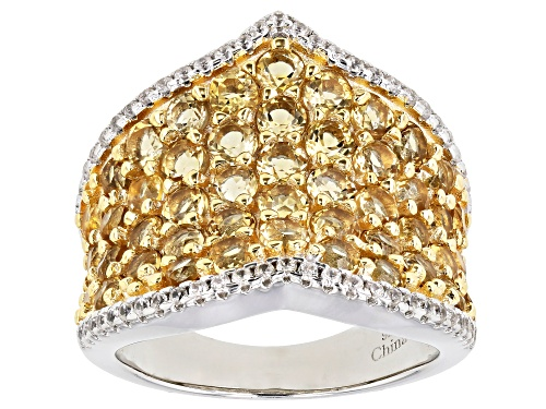 Photo of 3ctw Round Citrine With 0.45ctw Round White Zircon Rhodium Over Sterling Silver Ring - Size 7