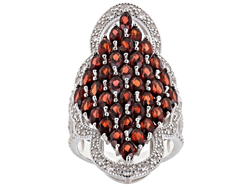 Photo of 5.50ctw Marquise Garnet With 0.90ctw Round White Zircon Rhodium Over Sterling Silver Ring - Size 7