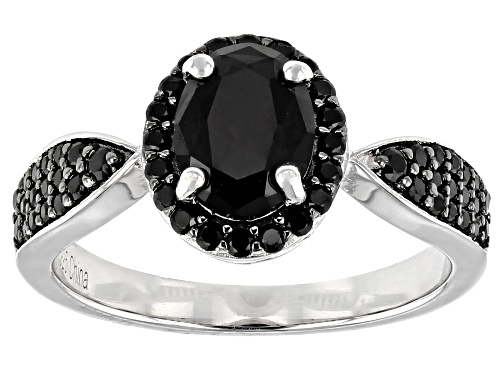 Photo of 1.82ctw Mixed Shape Black Spinel Rhodium Over Sterling Silver Ring - Size 9