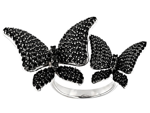 Photo of 3ct Round Black Spinel Rhodium Over Sterling Silver Butterfly Ring - Size 7