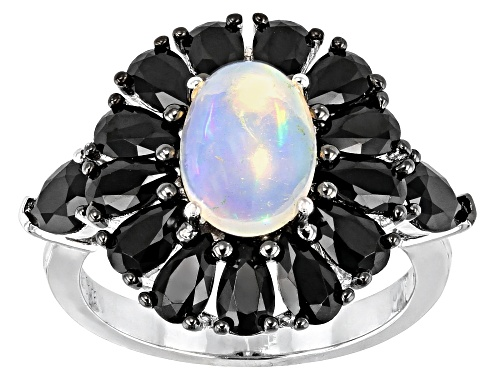 Photo of 9x7mm White Opal With 2.00ctw Pear Shape Black Spinel Rhodium Over Sterling Silver Ring - Size 8