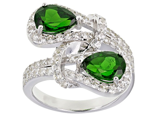 Photo of 1.85ctw Pear Chrome Diopside And 1.35ctw Round White Zircon Rhodium Over Sterling Silver Ring - Size 7