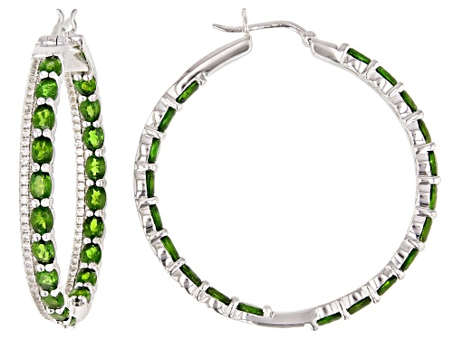 Photo of 5.25ctw Oval Chrome Diopside With 1.05ctw Round White Zircon Rhodium Over Sterling Silver Earrings