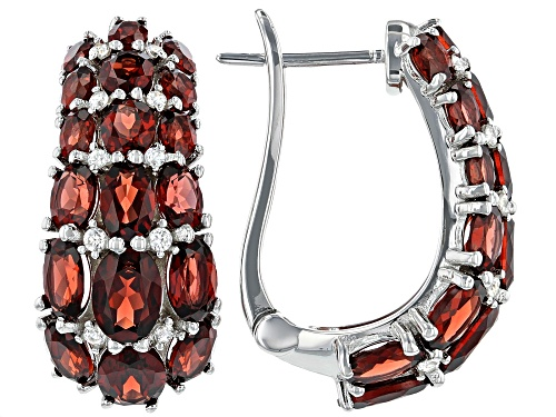 Photo of 11.00ctw Oval Garnet With 0.50ctw Round White Zircon Rhodium Over Sterling Silver Earrings