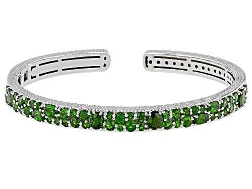 Photo of 4.50ctw Round And Oval Chrome Diopside Rhodium Over Sterling Silver Bracelet - Size 7