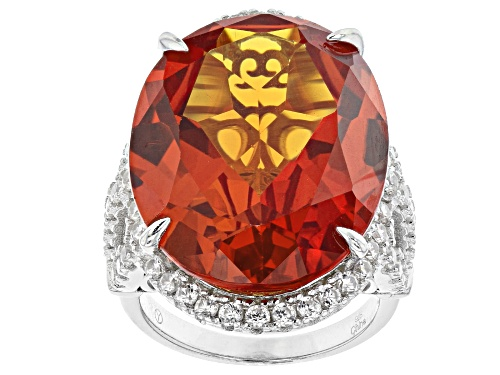 Photo of 30.00ctw Lab Created Padparadscha Sapphire With 1.75ctw White Zircon Rhodium Over Silver Ring - Size 8