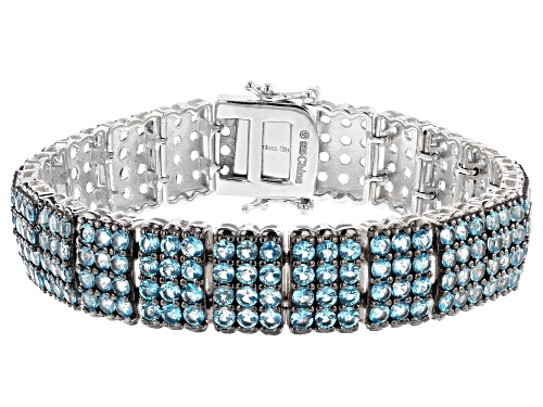 Photo of 12.00ctw Round Swiss Blue Topaz Rhodium Over Sterling Silver Bracelet - Size 7