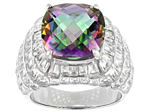 Photo of 2.50ct Cushion Mystic Quartz With 4.50ctw Baguette White Topaz Rhodium Over Sterling Silver Ring - Size 7