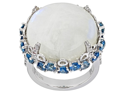 Photo of 20mm Moonstone With 2.85ctw Blue Topaz And .60ctw White Zircon Rhodium Over Sterling Silver Ring - Size 7