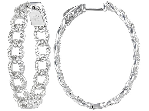 Photo of 2.40ctw Round White Zircon Rhodium Over Sterling Silver Hoop Earrings