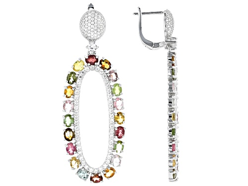 Photo of 6.30ctw Oval Mixed-Color Tourmaline & 3.07ctw Round White Zircon Rhodium Over Silver Dangle Earrings