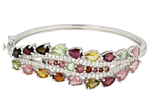 Photo of 9.00ctw Pear And Round Multi Tourmaline And 2.00ctw White Zircon Rhodium Over Silver Bracelet - Size 7