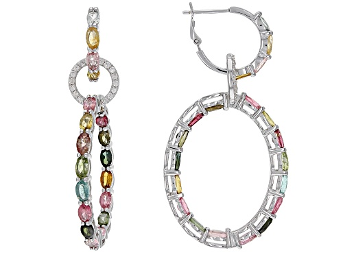 Photo of 7.75ctw Oval Multi Tourmaline With 0.50ctw Round White Zircon Rhodium Over Sterling Silver Earrings