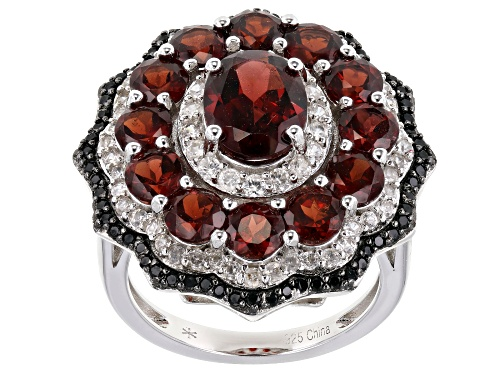 Photo of 4.00ctw Garnet With 0.30ctw Black Spinel And 0.30ctw White Zircon Rhodium Over Sterling Silver Ring - Size 10
