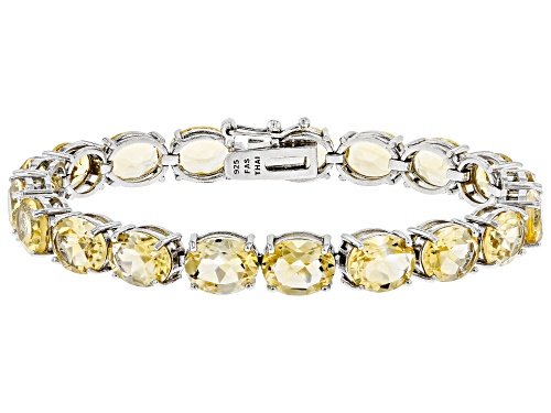 Photo of 27.55ctw Oval Citrine Rhodium Over Sterling Silver Line Bracelet - Size 7.25