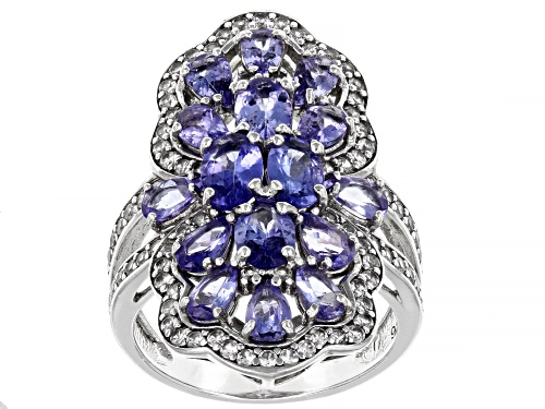 Photo of 3.24ctw Oval And Pear Shape Tanzanite With 1.02ctw White Zircon Rhodium Over Silver Cocktail Ring - Size 8