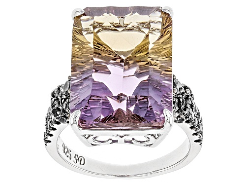 Photo of 11.20ct Quantum Cut(R) & Emerald Cut Ametrine With .81ctw Black Spinel Silver Ring - Size 5