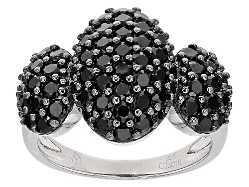 Photo of 2.80ctw Round Black Spinel Sterling Silver Ring - Size 6