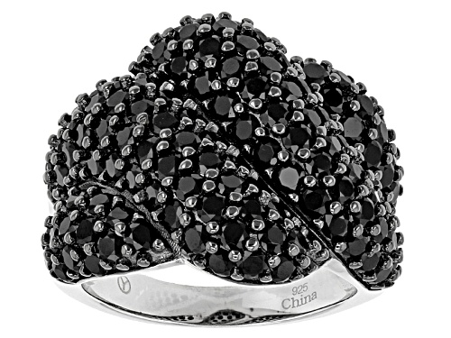 Photo of 5.00ctw Round Black Spinel Sterling Silver Cluster Ring - Size 5