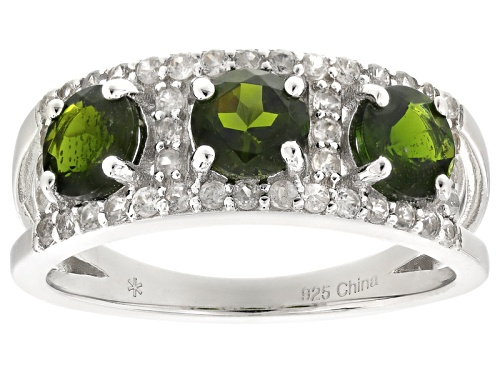 Photo of 1.84ctw Round Russian Chrome Diopside With .61ctw Round White Zircon Sterling Silver 3-Stone Ring - Size 11