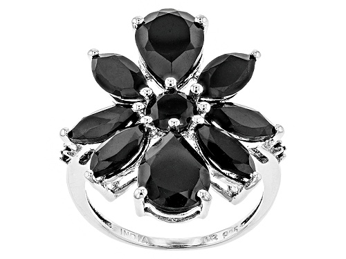 Photo of 6.63ctw Pear Shape, Marquise, And Round Black Spinel Sterling Silver Cluster Ring - Size 4