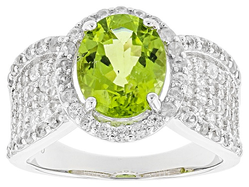 Photo of 2.80ct Oval Peridot With 1.83ctw Round White Zircon Sterling Silver Ring - Size 11