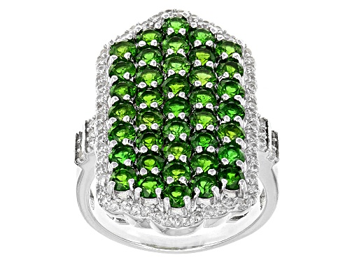 Photo of 3.75ctw Round Russian Chrome Diopside With .83ctw Round White Zircon Sterling Silver Ring - Size 5