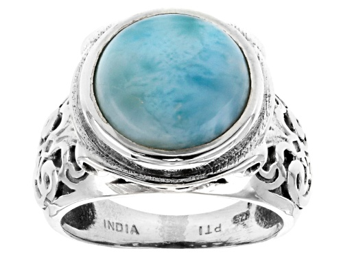 Photo of 12mm Round Cabochon Larimar Sterling Silver Solitaire Ring - Size 5