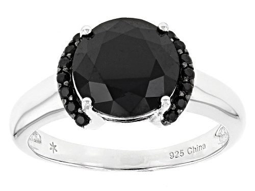 Photo of 3.60ctw Round Black Spinel Sterling Silver Ring - Size 12