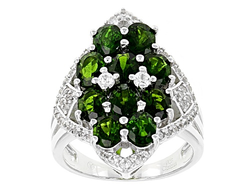Photo of 4.25ctw Oval Russian Chrome Diopside With .85ctw Round White Zircon Sterling Silver Ring - Size 6