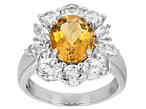 Photo of 2.31ct Oval Brazilian Citrine With 3.05ctw Round And Marquise White Topaz Sterling Silver Ring - Size 12