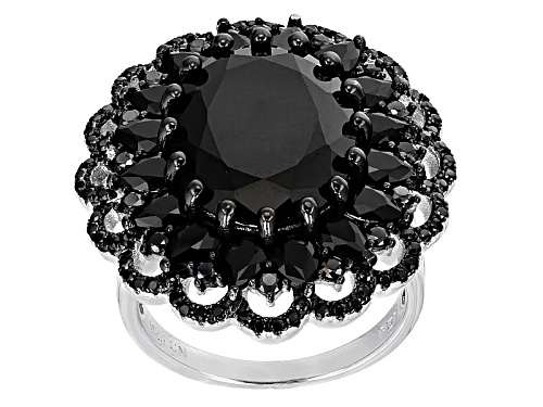 Photo of 14.02ctw Oval, Pear Shape And Round Black Spinel Sterling Silver Ring - Size 6