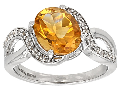 Photo of 2.75ct Oval Brazilian Citrine With .37ctw Round White Topaz Rhodium Over Sterling Silver Ring - Size 9