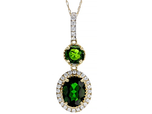 Photo of 1.52ctw Oval Russian Chrome Diopside And .30ctw Round White Zircon 10k Yellow Gold Pendant And Chain