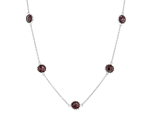 Photo of 17.00ctw Round Checkerboard Cut Indian Ruby Sterling Silver Station Necklace - Size 17